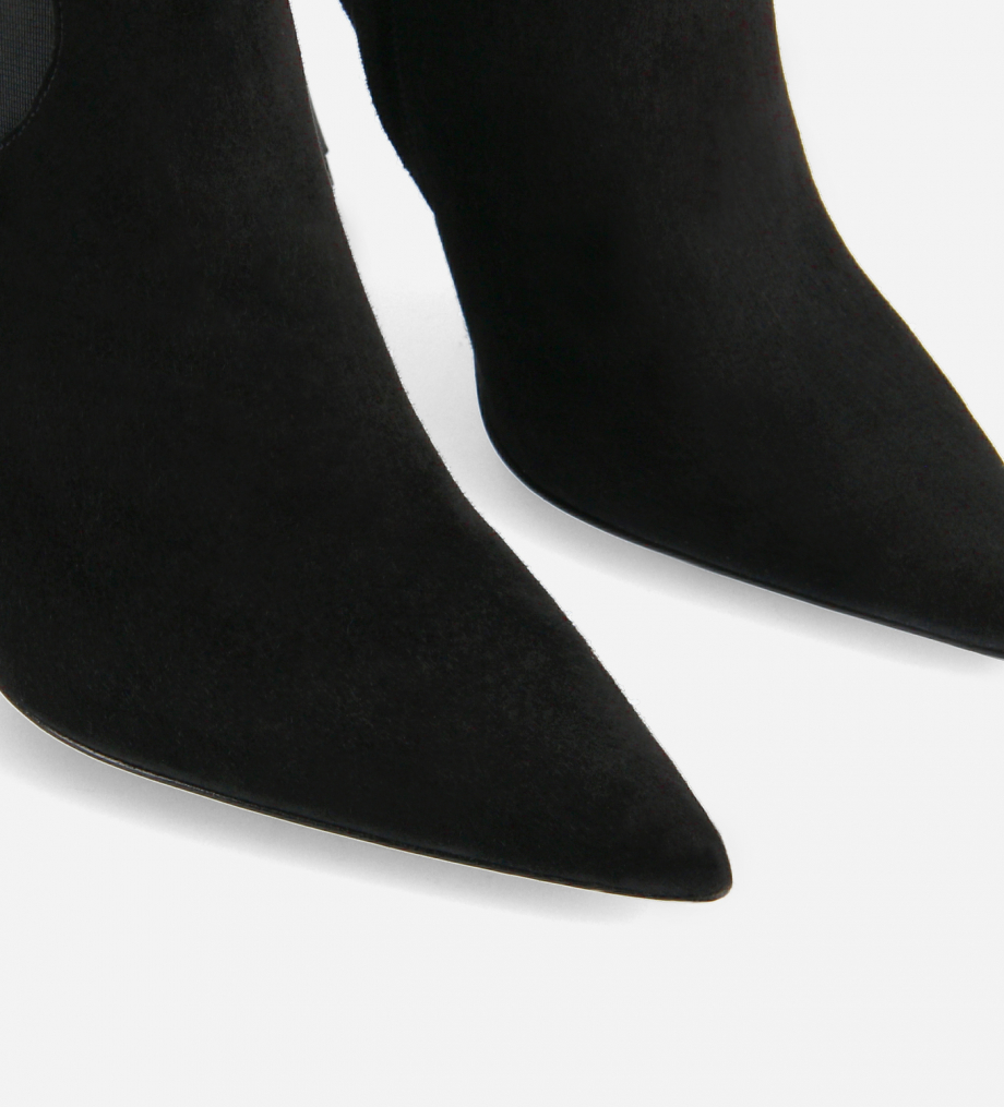 FREE LANCE Pointy heeled chelsea boot - Lune 100 - Goat suede leather - Black