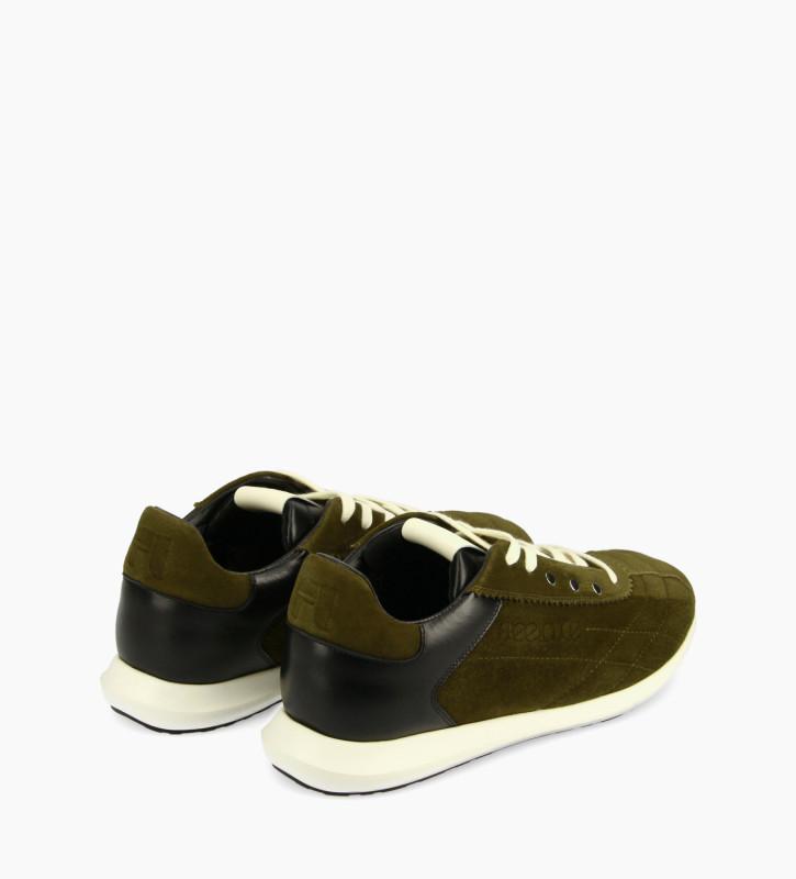 FREE LANCE Sneaker - Maiva - Cuir velours/Cuir nappa - Kaki/Noir/Blanc