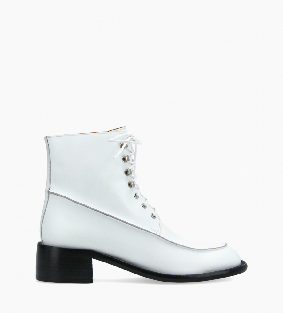 FREE LANCE Squared lace-up boot - Maxine 50 - Box calf leather - White