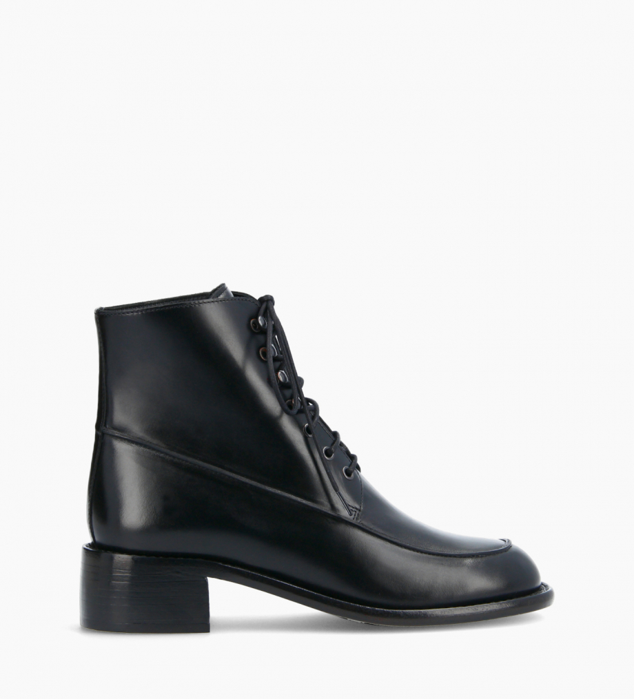 FREE LANCE Squared lace-up boot - Maxine 50 - Box calf leather - Black