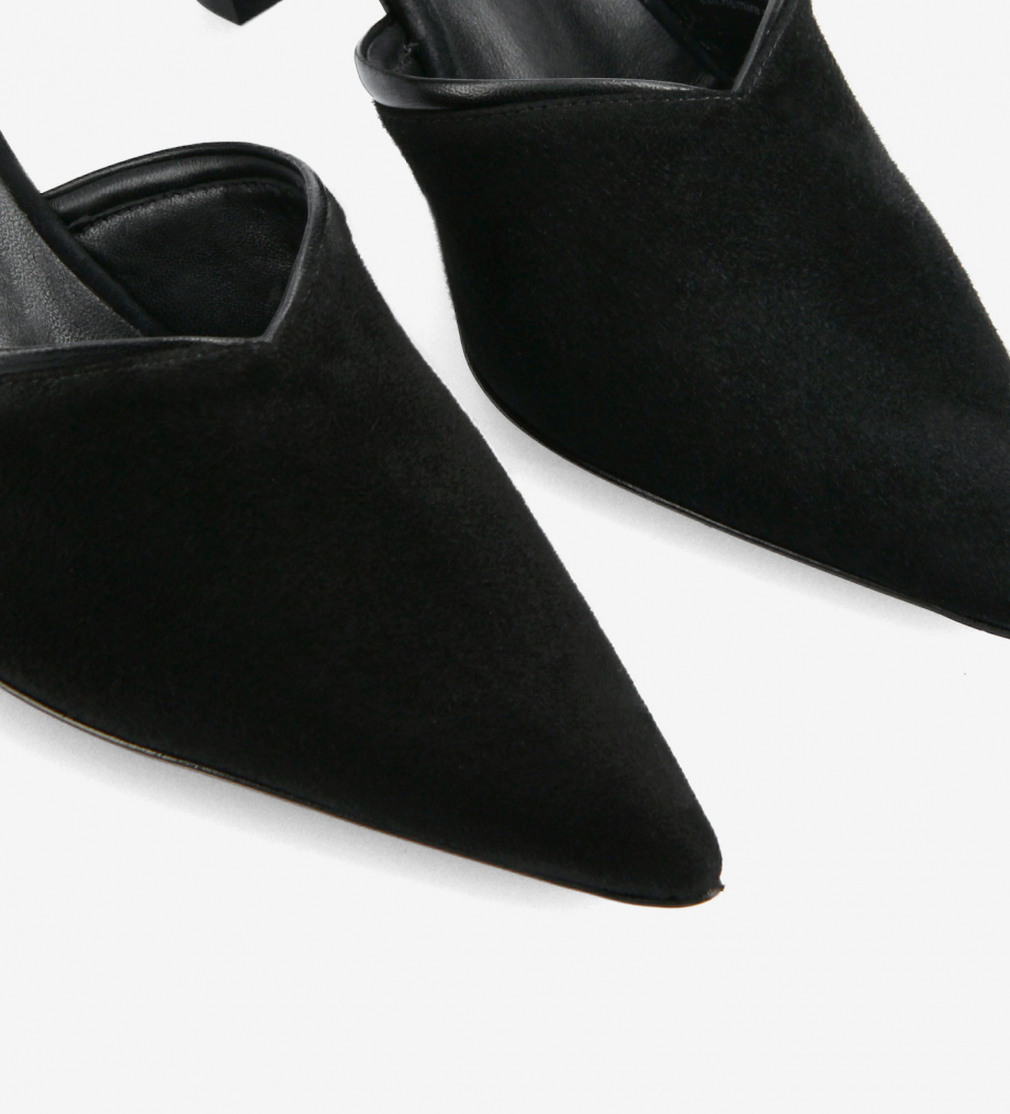 FREE LANCE Padded pointy heeled mule - Olympia 65 - Goat suede leather/Nappa lambskin leather - Black