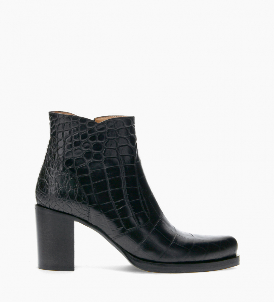 FREE LANCE Ankle boot with block heel and zip - Paddy 7 - Croco embossed leather - Black