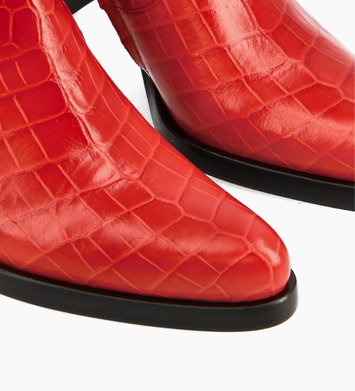 FREE LANCE Bottine à talon à zip - Paddy 7 - Cuir embossé croco - Rouge
