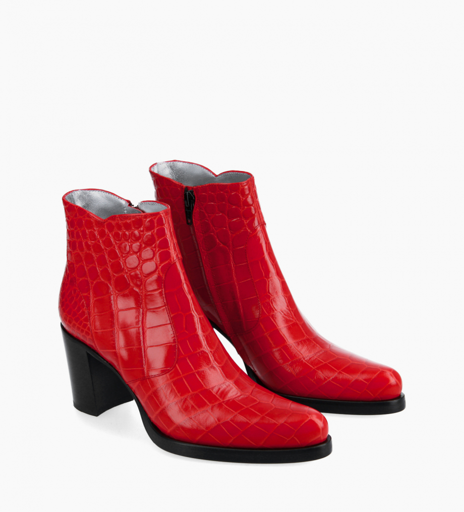 FREE LANCE Ankle boot with block heel and zip - Paddy 7 - Croco embossed leather - Red