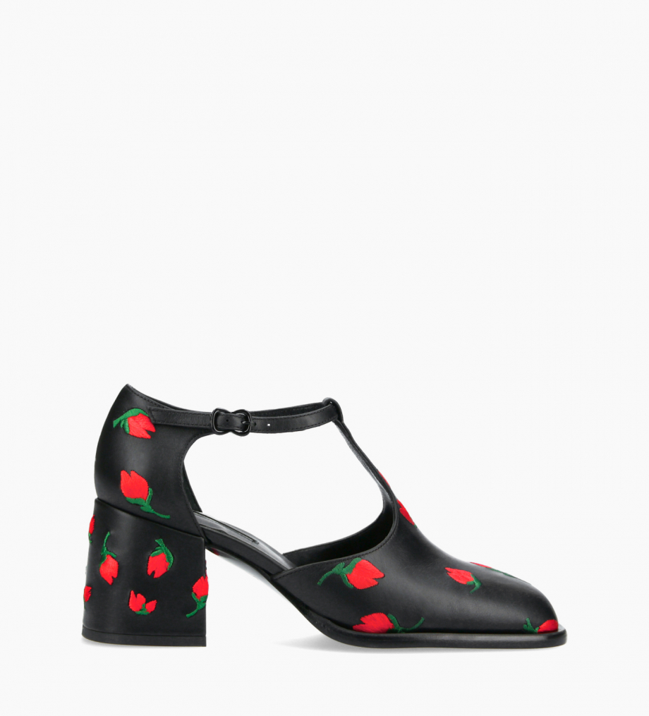 FREE LANCE T-bar heeled pump - Pallas 70 - Embroidered smooth calf leather - Black/Red