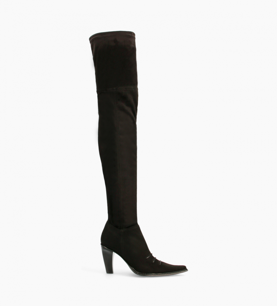 FREE LANCE Western above-the-knee boot - Paradis 85 - Stretch suede - Black