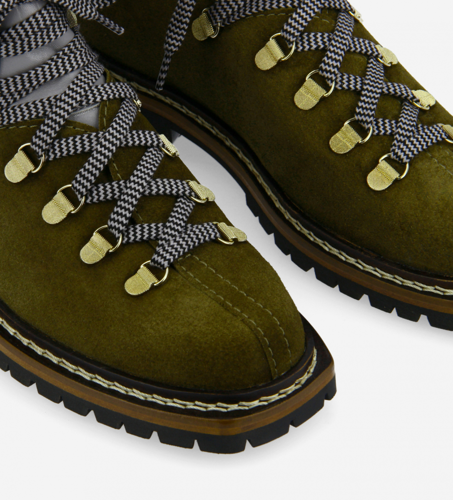 FREE LANCE Lace-up mountain boot - Rox - Suede leather/Nappa lambskin leather - Khaki/Blue/Black