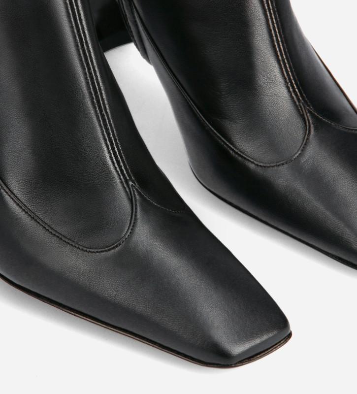 FREE LANCE Squared heeled ankle boot - Sunni 70 - Matt smooth calf leather - Black