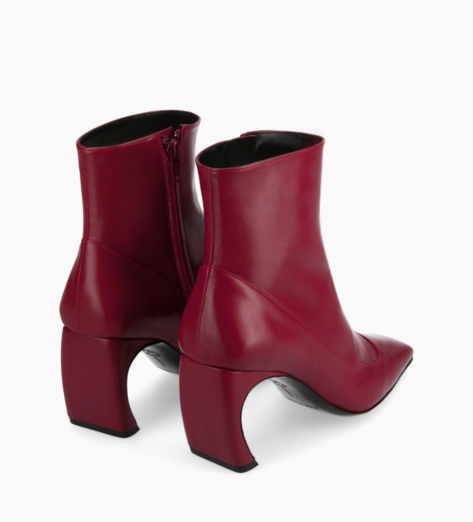 FREE LANCE Squared heeled ankle boot - Sunni 70 - Matt smooth calf leather - Bordeaux