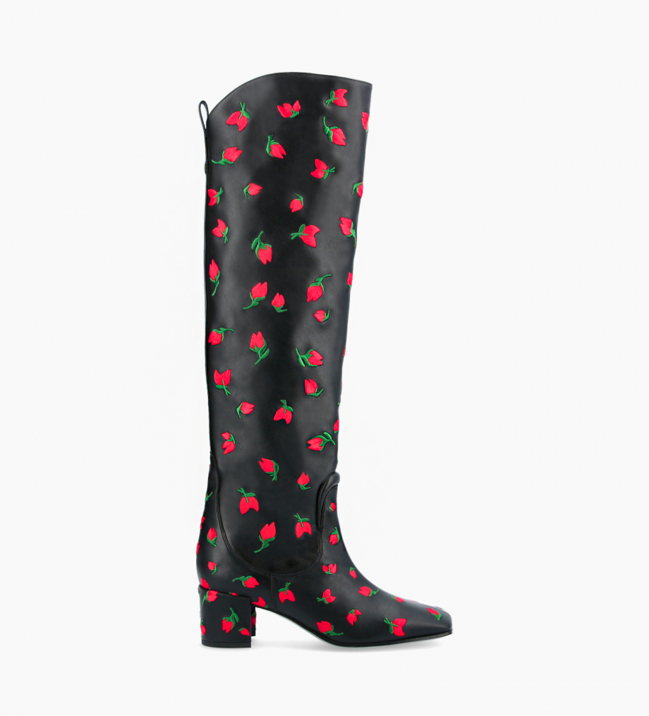FREE LANCE Straight high boot - Tessa 50 - Embroidered smooth calf leather - Black/Red