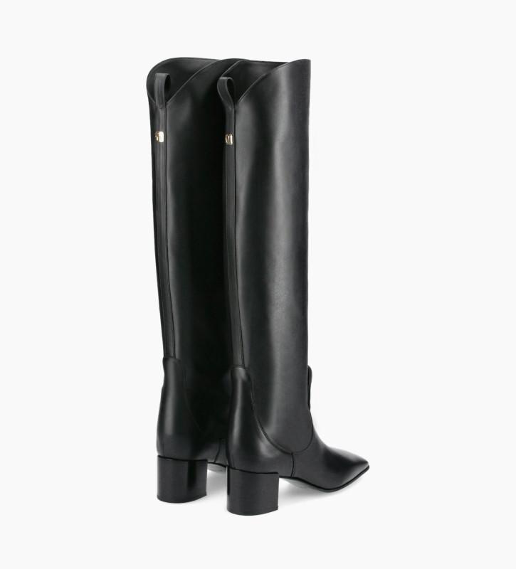 FREE LANCE Straight high boot - Tessa 50 - Matt smooth calf leather - Black