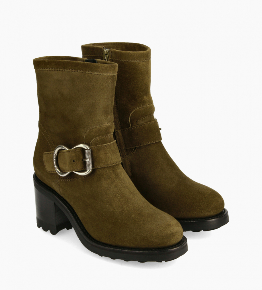 FREE LANCE Biker boot - Thorn 75 - Suede leather - Khaki