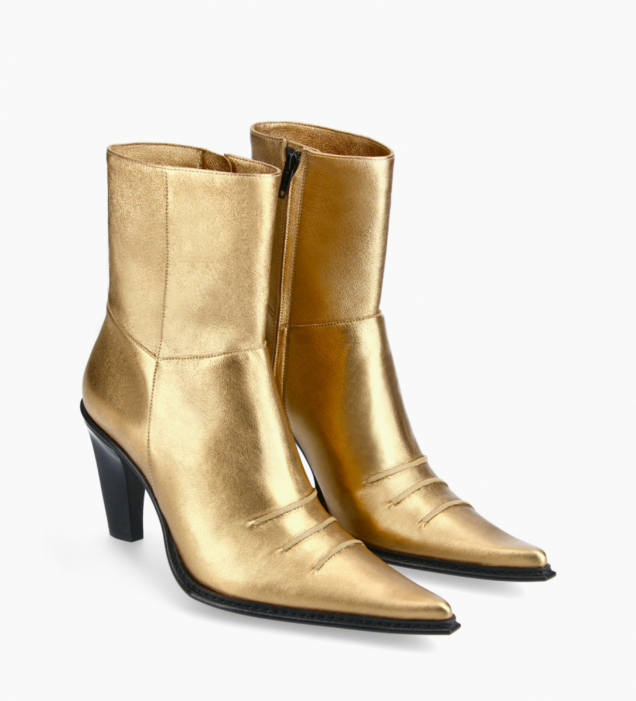 FREE LANCE Heeled Western ankle boot - West 85 - Metallic leather - Gold