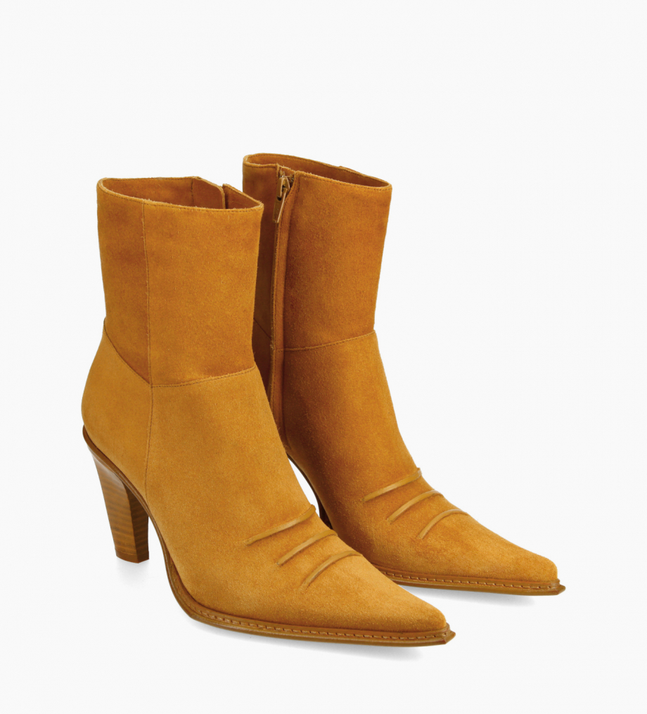 FREE LANCE Heeled Western ankle boot - West 85 - Suede leather - Camel