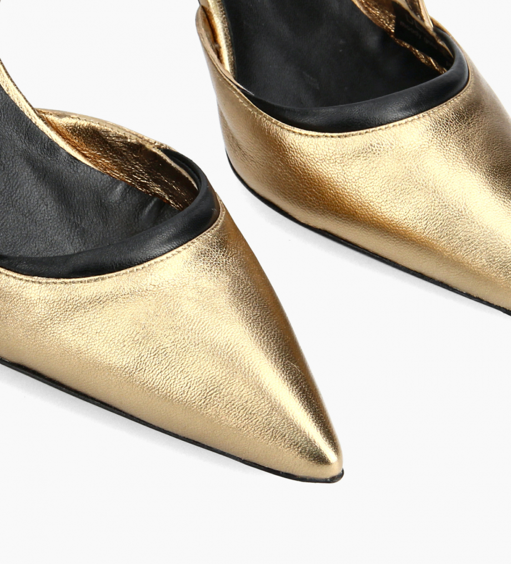 FREE LANCE Padded pointy slingback pump - Demi 65 - Metallic leather/Nappa lambskin leather - Gold/Black