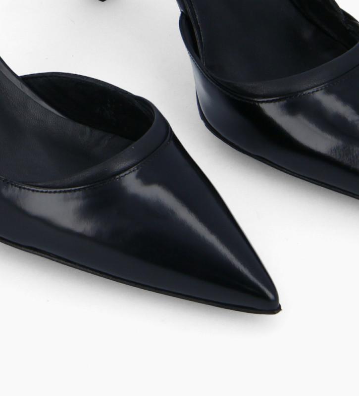 FREE LANCE Padded pointy slingback pump - Demi 65 - Glazed leather/Nappa lambskin leather - Black