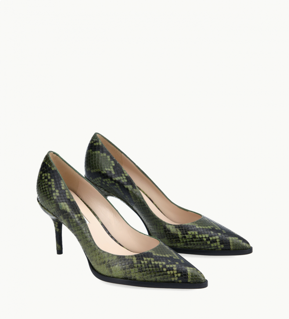 FREE LANCE Pump with pointed toe and stiletto heel - Jamie 7 - Cuir imprimé serpent - Khaki