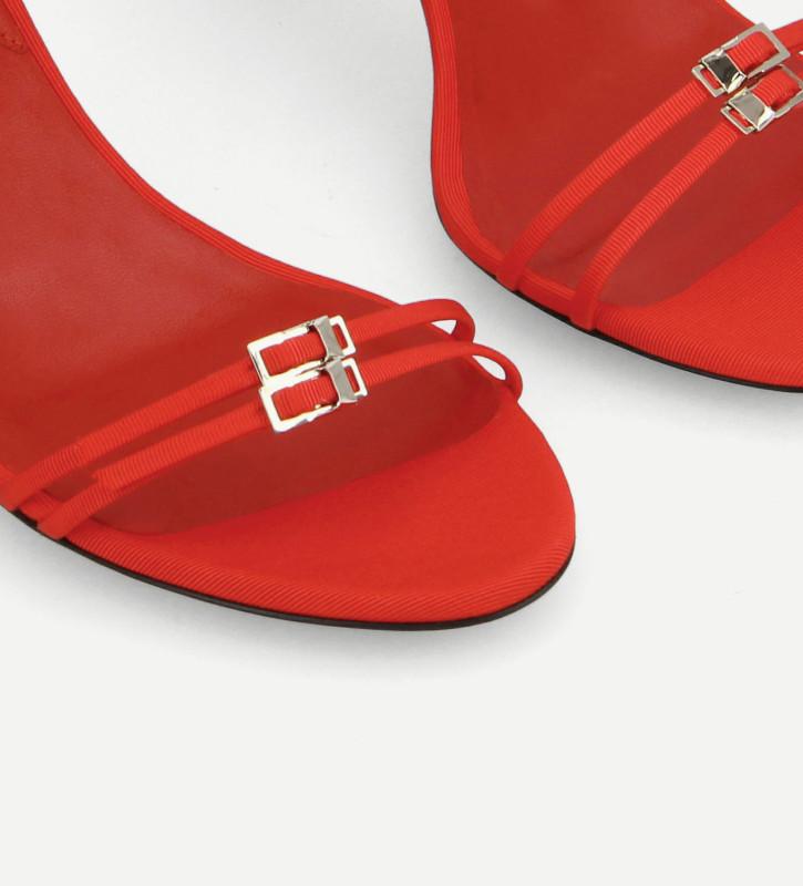 FREE LANCE Sandale mule à brides - Jade 65 - Toile gros grain - Rouge