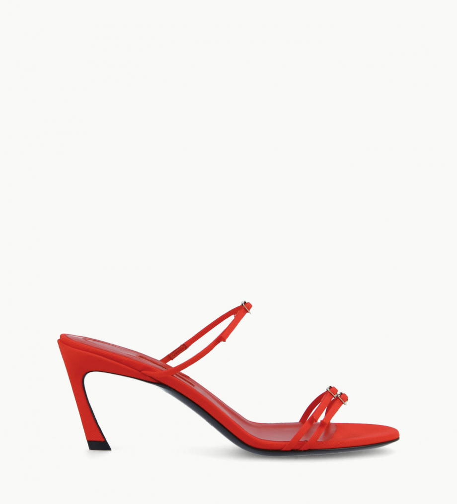 FREE LANCE Heeled strappy mule - Jade 65 - Grained canvas - Red