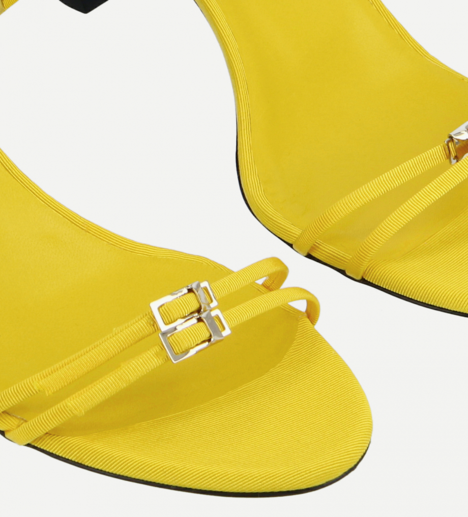 FREE LANCE Heeled strappy mule - Jade 65 - Grained canvas - Yellow