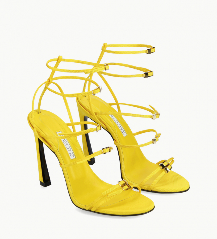 FREE LANCE Heeled strappy sandal - Julie 100 - Grained canvas - Yellow