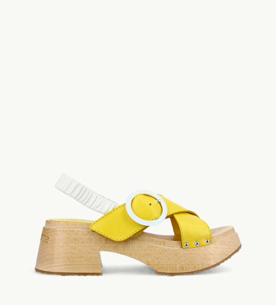 FREE LANCE Cross strap wood sandal - Marguerite 35 - Vegetable tanned leather/Nappa lambskin leather - Yellow/White