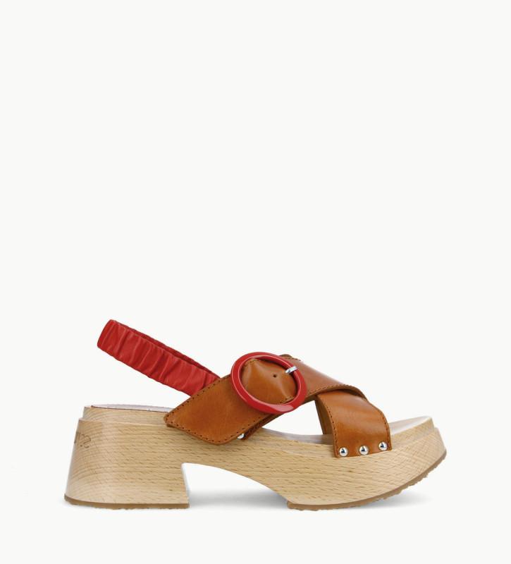 FREE LANCE Sandale à brides croisée sur bloc bois - Marguerite 35 - Cuir au tannage végétal/Cuir nappa - Camel/Rouge