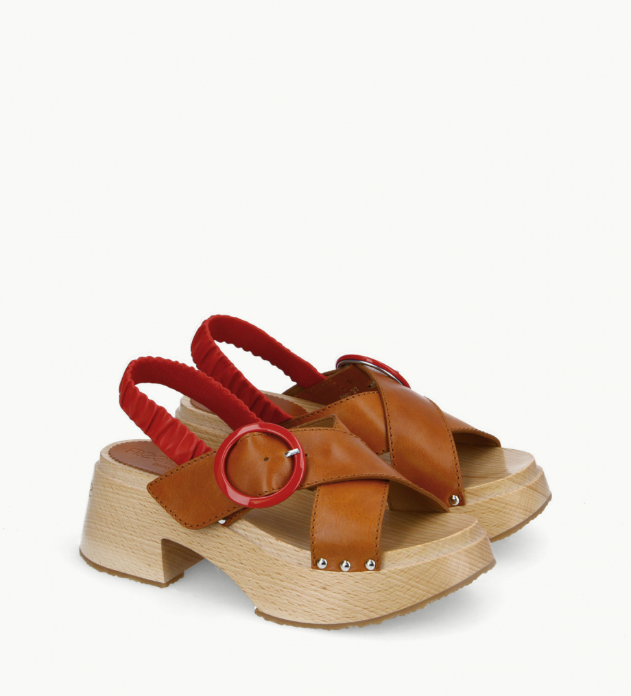 FREE LANCE Cross strap wood sandal - Marguerite 35 - Vegetable tanned leather/Nappa lambskin leather - Camel/Red