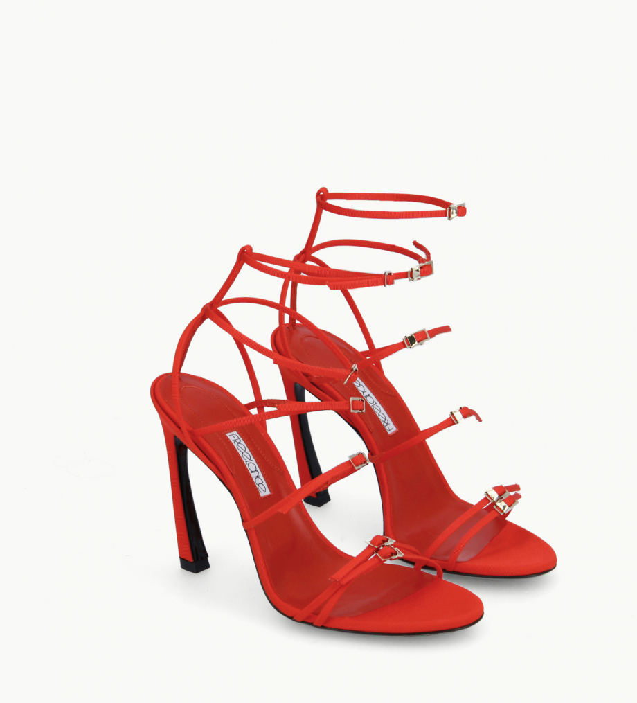 FREE LANCE Heeled strappy sandal - Julie 100 - Grained canvas - Red