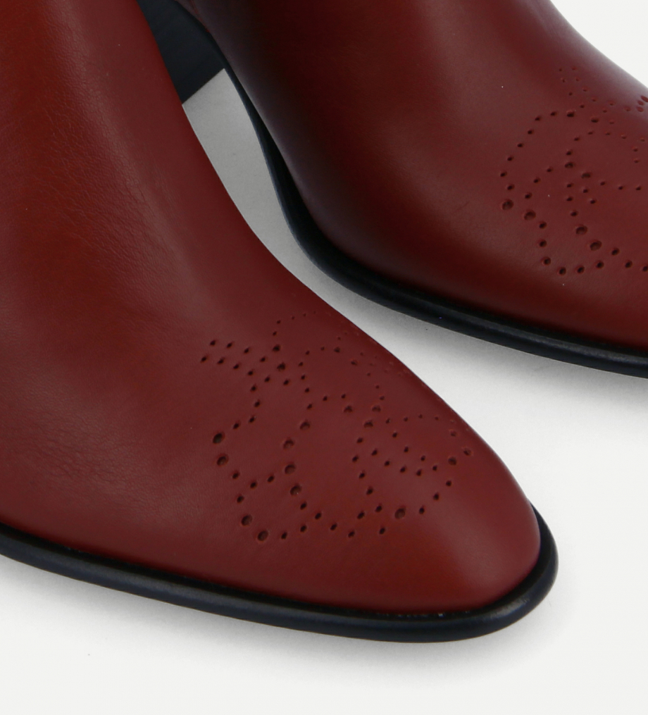 FREE LANCE Chelsea Western ankle boot - Dusty 65 - Matt smooth calf leather - Bordeaux