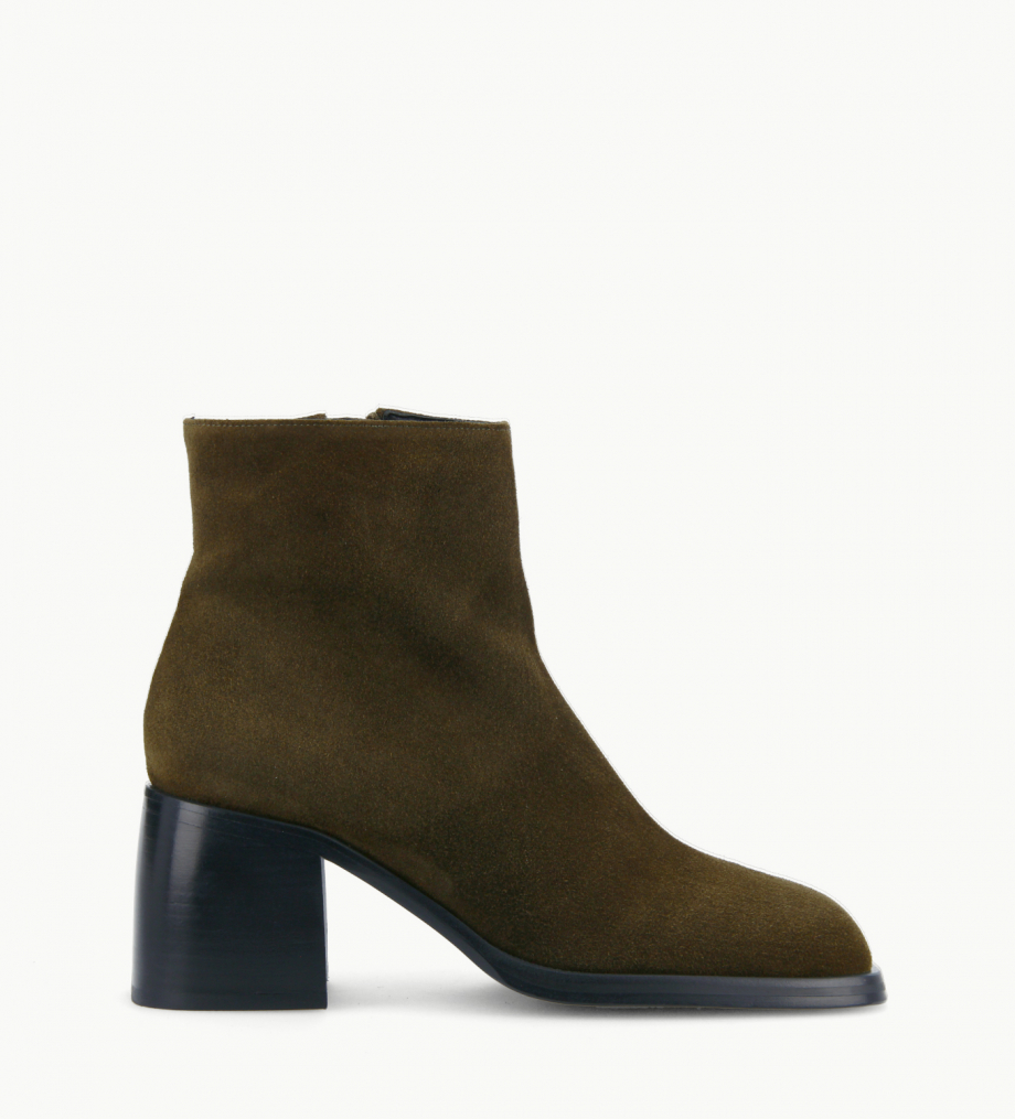 FREE LANCE Squared ankle boot - Gray 70 - Suede leather - Khaki