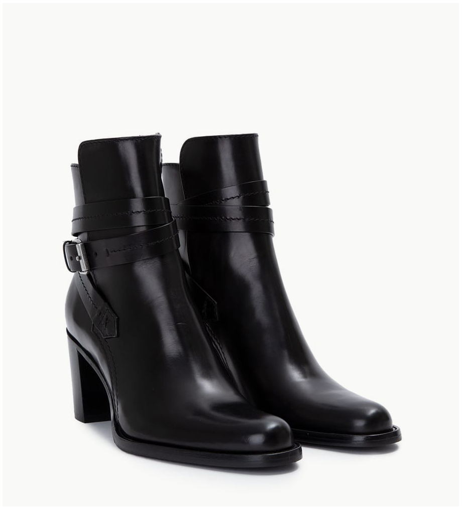 FREE LANCE Ankle boot with block heel and buckle - Legend 7 - Matt smooth calf leather - Black