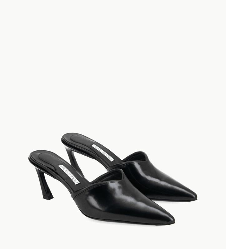 FREE LANCE Padded pointy heeled mule - Olympia 65 - Glazed leather/Nappa lambskin leather - Black