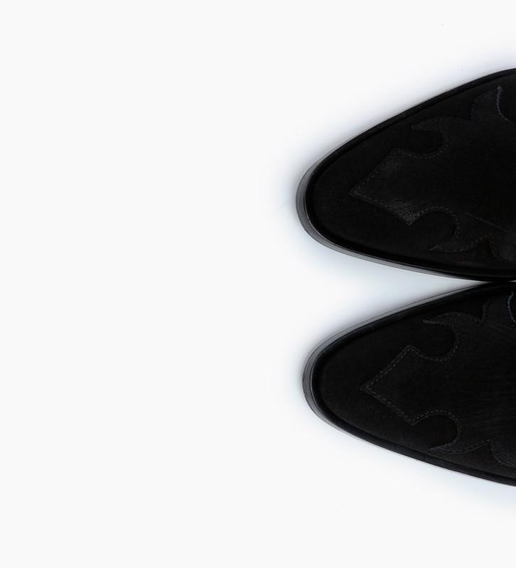 FREE LANCE Bottine western brodée à talon - Jane 7 - Cuir velours - Noir