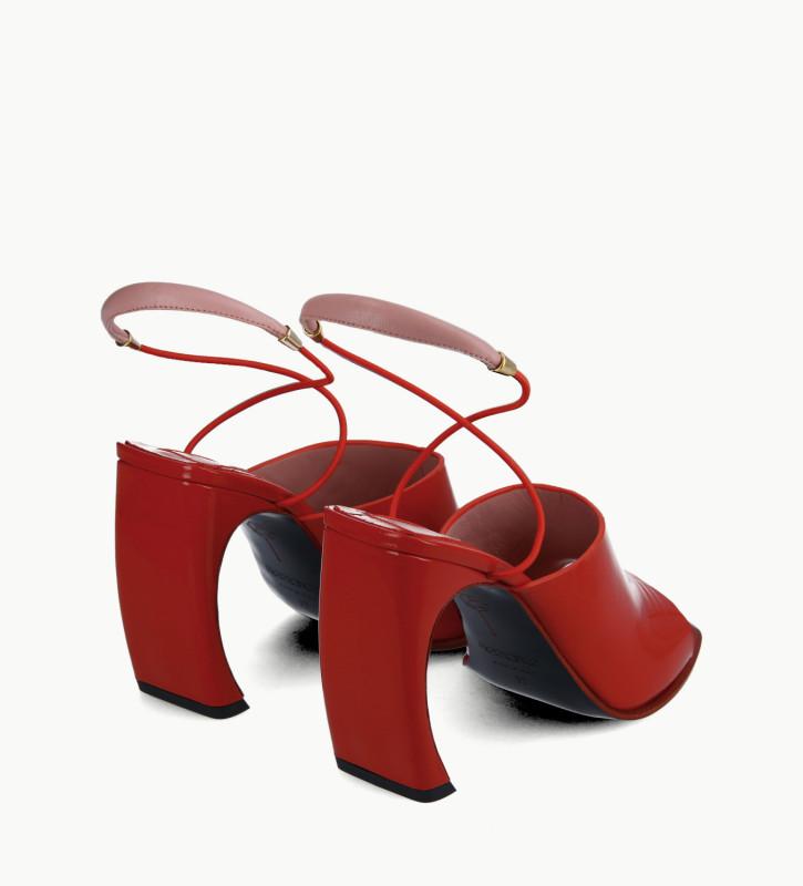 FREE LANCE Sandale à brides à talon - Elle 100 - Cuir vernis naplak/Cuir nappa - Rouge/Rose