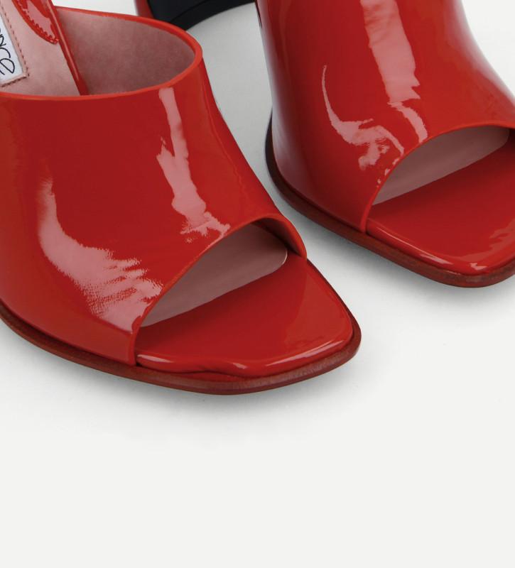 FREE LANCE Heeled elasticated mule sandal - Elle 100 - Naplak patent leather/Nappa lambskin leather - Red/Pink