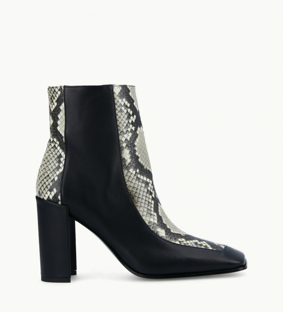 FREE LANCE Bi-material squared ankle boot - Bette 85 - Snake print leather/Nappa lambskin leather - Beige/Black