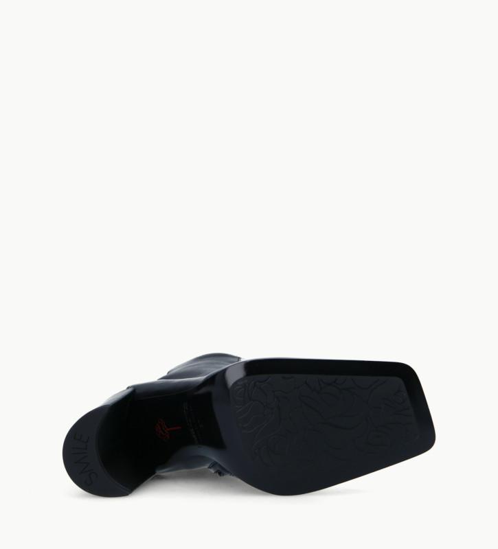FREE LANCE Bottine bi-matières à talon à bout carré - Bette 85 - Cuir imprimé serpent/Cuir nappa - Beige/Noir