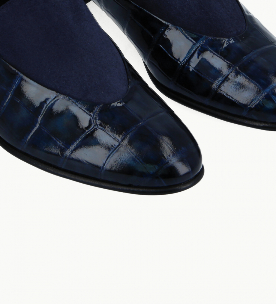FREE LANCE Loafer - Ara 25 - Croco embossed leather/Suede leather - Navy blue/Midnight blue