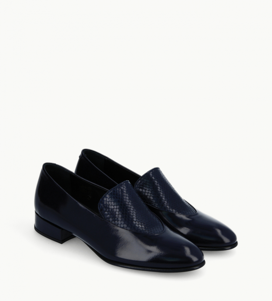 FREE LANCE Loafer - Ara 25 - Patent leather/Snake print leather - Navy blue
