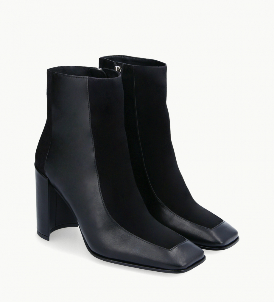 FREE LANCE Squared ankle boot - Bette 85 - Nappa lambskin leather/Suede - Black