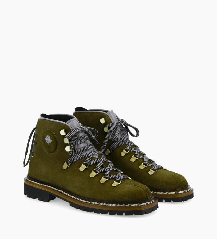 FREE LANCE Boot mountain à lacets - Rox - Cuir velours/Cuir nappa - Kaki/Bleu/Noir