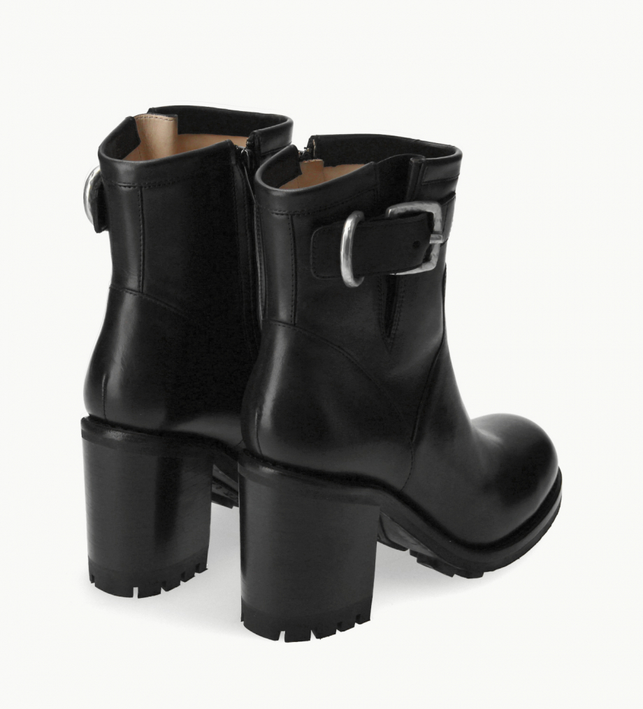 FREE LANCE Biker boot with buckle - Justy 9 - Smooth leather - Black
