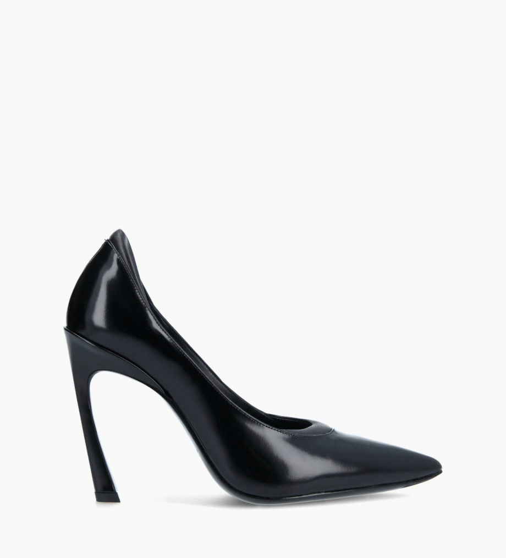 FREE LANCE Padded pointy pump - La Rose 100 - Glazed leather/Nappa - Black
