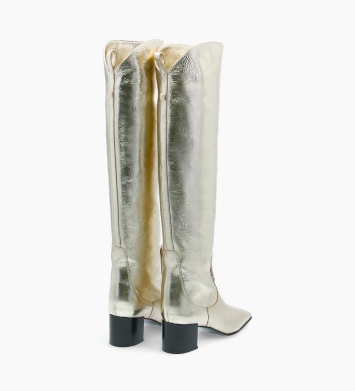 FREE LANCE Botte droite à talon à bout carré - Tessa 50 - Cuir métallisé froissé - Beige