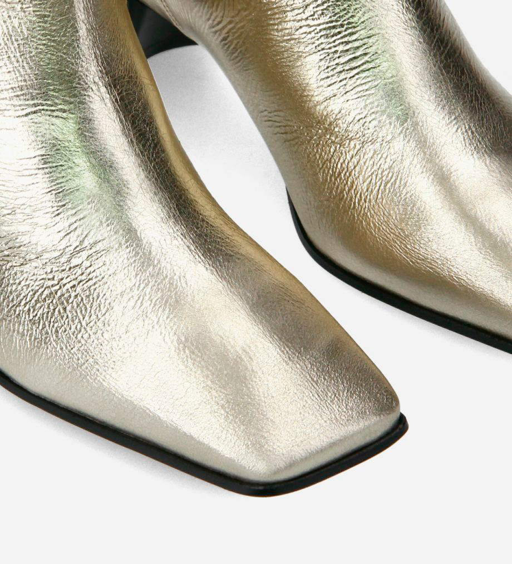 FREE LANCE Straight high boot - Tessa 50 - Crinkled metallic leather - Beige