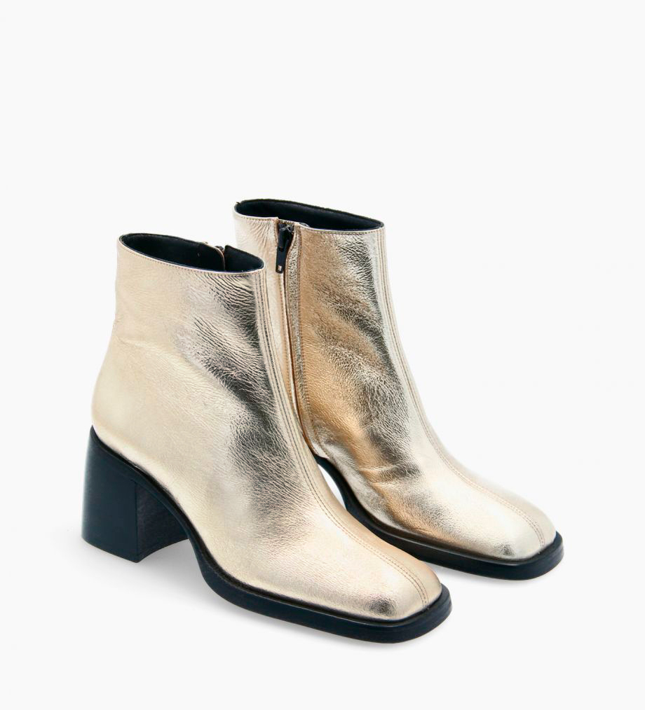 FREE LANCE Squared ankle boot - Gray 70 - Crinkled metallic leather - Beige