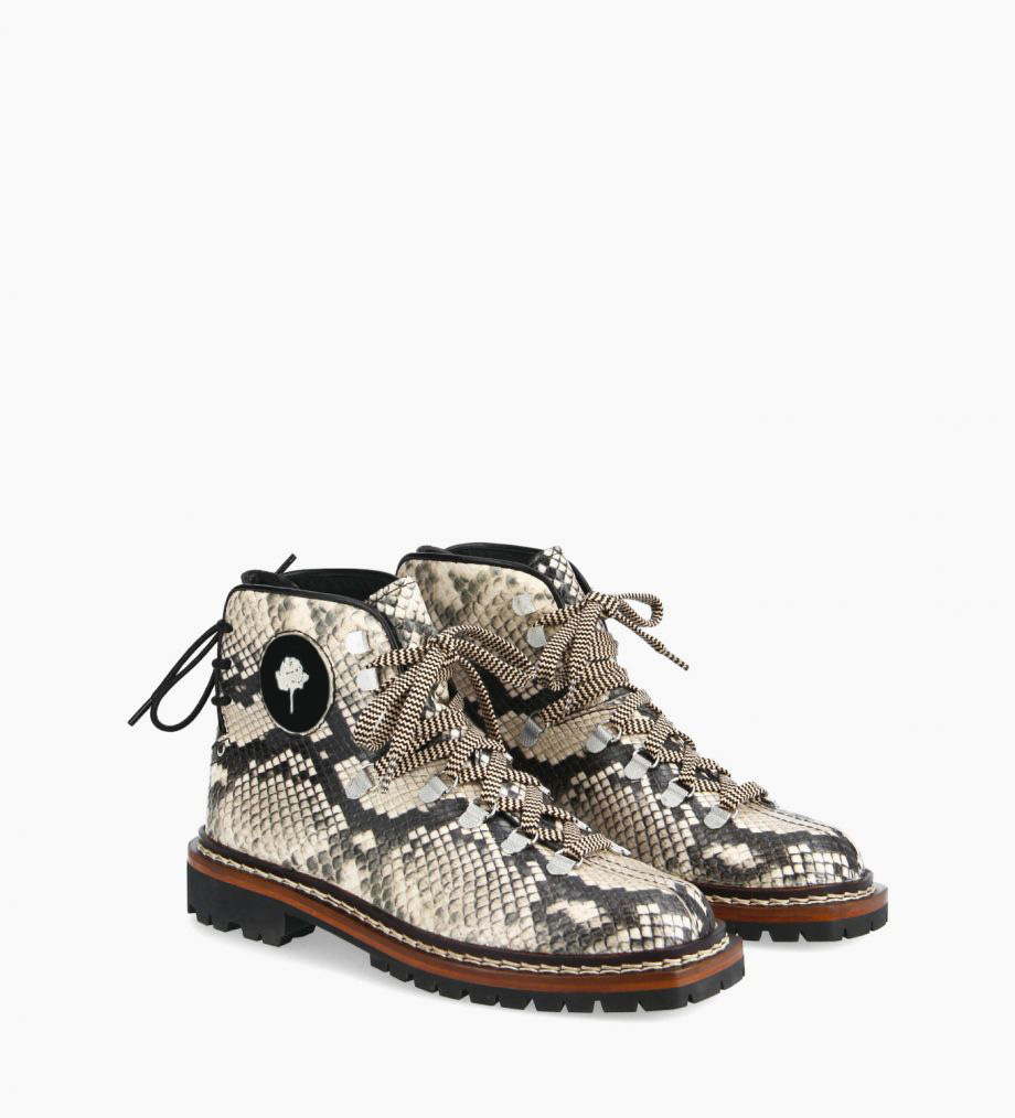 FREE LANCE Lace up mountain boot - Rox - Snake print leather/Nappa - Beige/Black