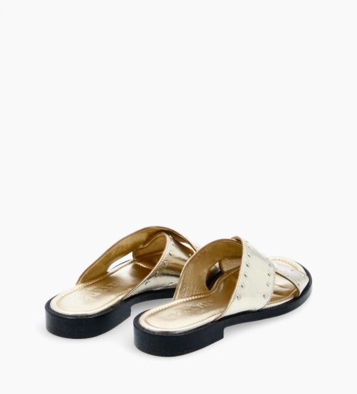 FREE LANCE Cross strap sandal - Lennie - Crinkled metallic leather - Beige