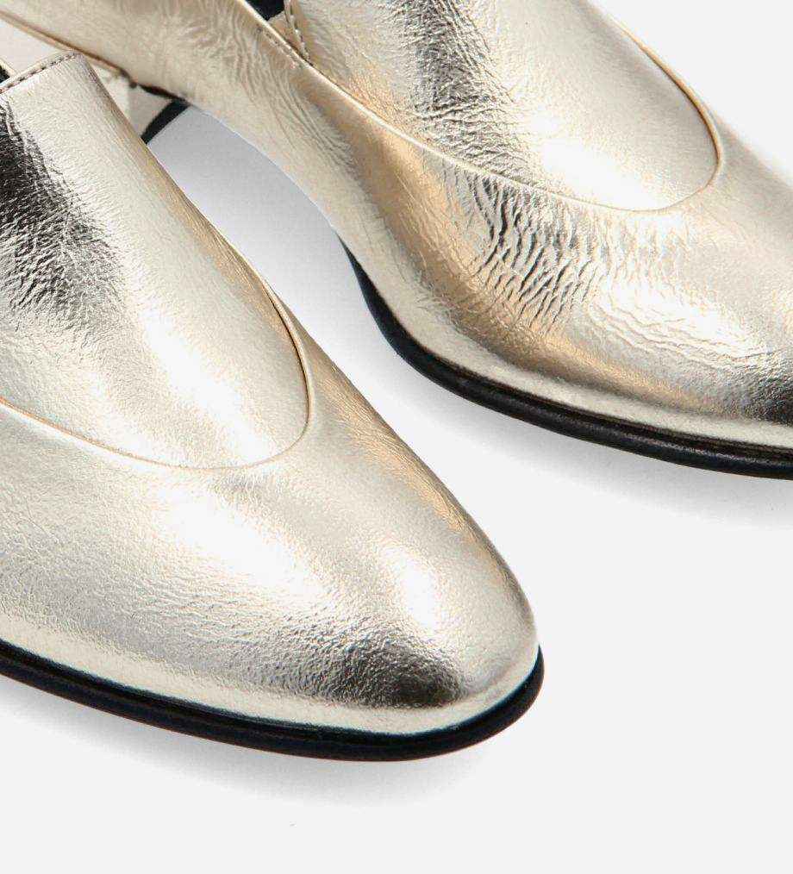FREE LANCE Loafer - Ara 25 - Crinkled metallic leather - Beige